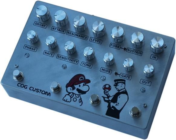 Cog Effects Custom Guitar Noise Box with Octave Up, Tarkin Fuzz, FSH Filter Sample Hold and FET Phaser with Banksy Mario Engraved Artwork