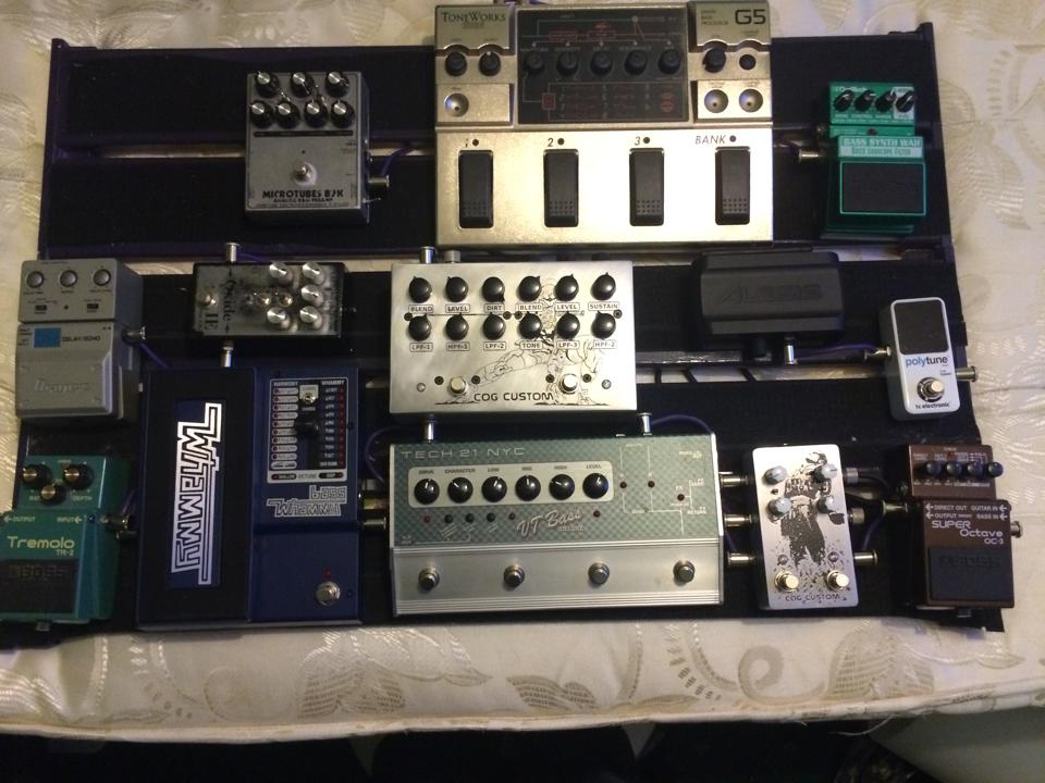 Davie Wood Pedalboard - Custom Cog Effects, Darkglass, Boss, Tech 21, Iron Ether, Digitech, TC Electronic