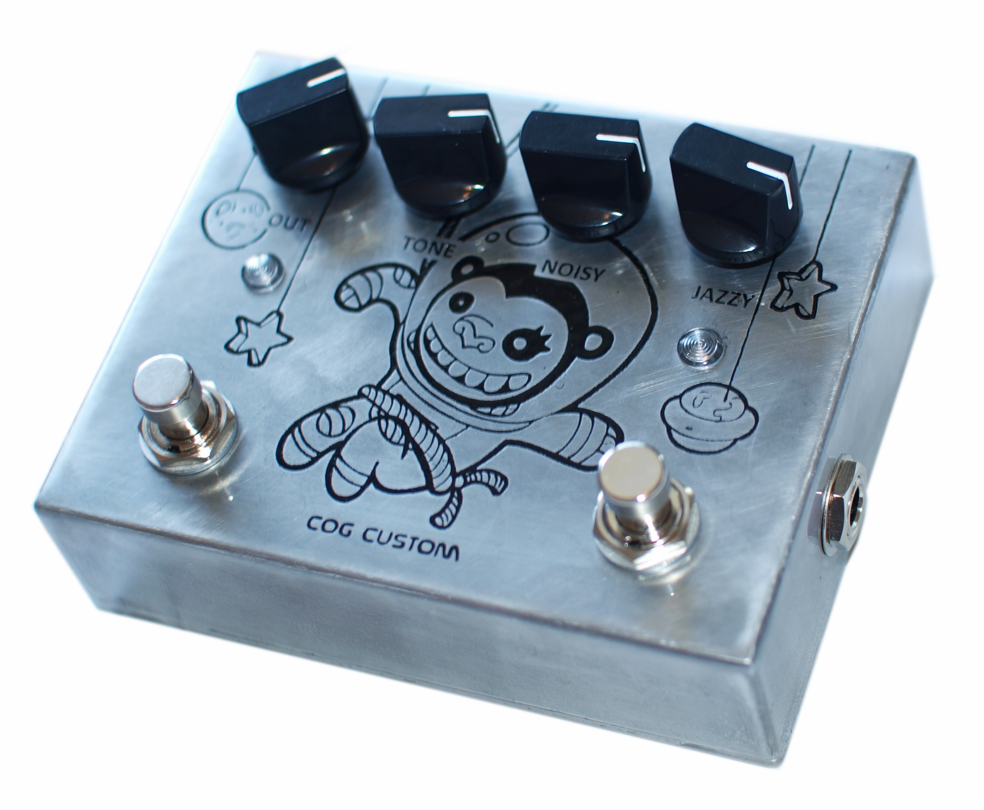 Cog Custom - Custom Effects Pedal - Disastrochimp two-channel Knightfall Distortion - Etched Enclosure