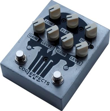 Cog Custom - Knightfall 66 Bass Distortion pedal running at 18v with etched Punisher artwork
