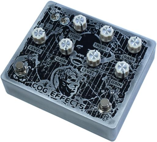 Cog Effects Custom Time Bandits Dual Bass Guitar Overdrive and Distortion with custom engraved artwork design by MrExcane