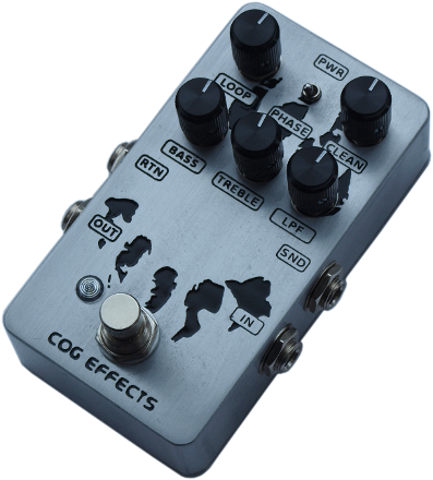 Cog Effects Custom Bass Guitar Blender Effects Pedal With Bass Treble EQ Low Pass Filter and Phase Inversion Switch