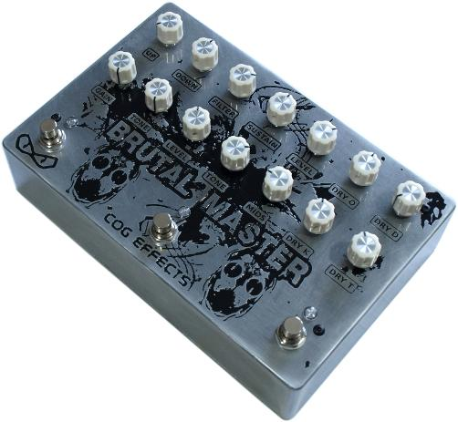 Cog Effects Custom Brutal Master Parallel Octave Fuzz Distortion Bass Guitar Effects Pedal with engraved artwork design by MrExcane