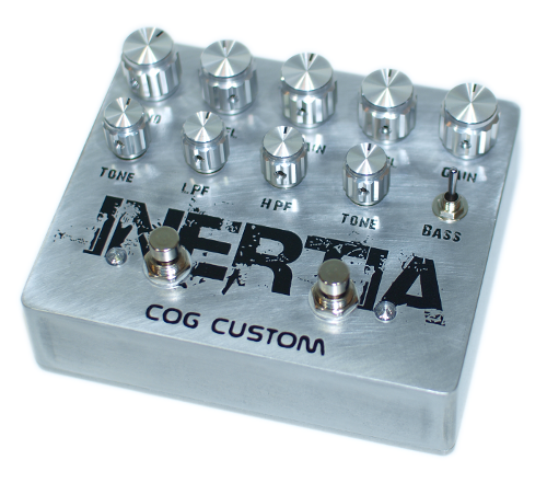 Cog Effects Custom Knightfall Distortion and Grand Tarkin Bass Fuzz etched bass guitar effect pedal