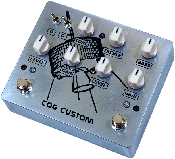Cog Effects Custom Darklighter and Knightfall Guitar & Bass Overdrive & Distortion with clipping options, expanded active EQ and engraved Cave In Tribute Artwork