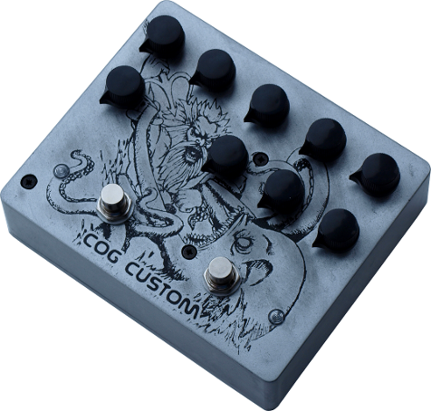 Cog Effects Custom Knightfall 66 Bass Distortion and T-65 Octave with Poseidon and Kraken artwork
