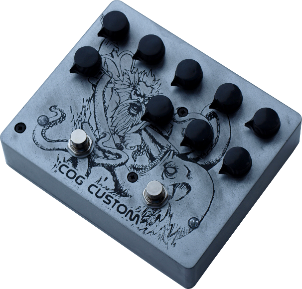 Cog Custom - Custom Effects Pedal - Octagrit T-65 Octave and Knightfall 66 Bass Distortion with Poseidon and Kraken battling to the death