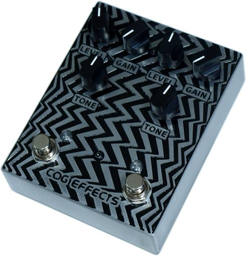 Cog Effects Custom Dual Knightfall Distortion with zigzag optical illusion engraved artwork